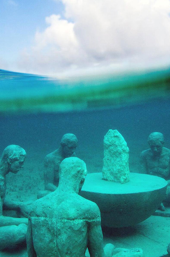 19. Snorkel an underwater museum in Mexico. Strap on your flippers to tour this museum where underwater sculptures create reef habitats for marine life. This bucket list item comes to you from our blog where you can check out a list of adventures.