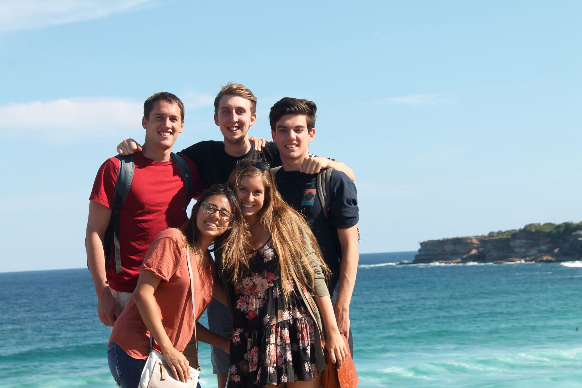 Group of students in front of the ocean