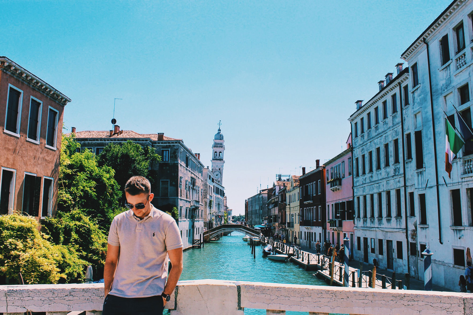 Male student posing in streets of Venice