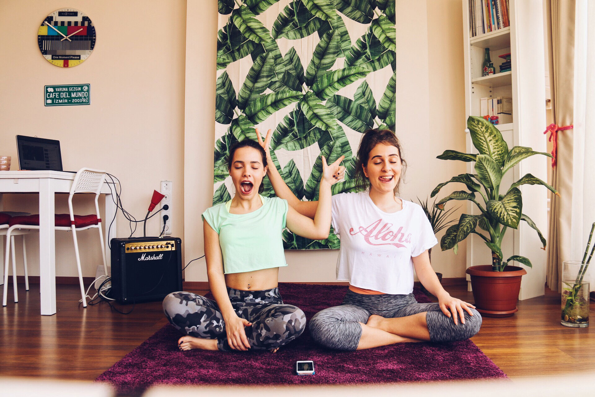 Two roommates practicing yoga together
