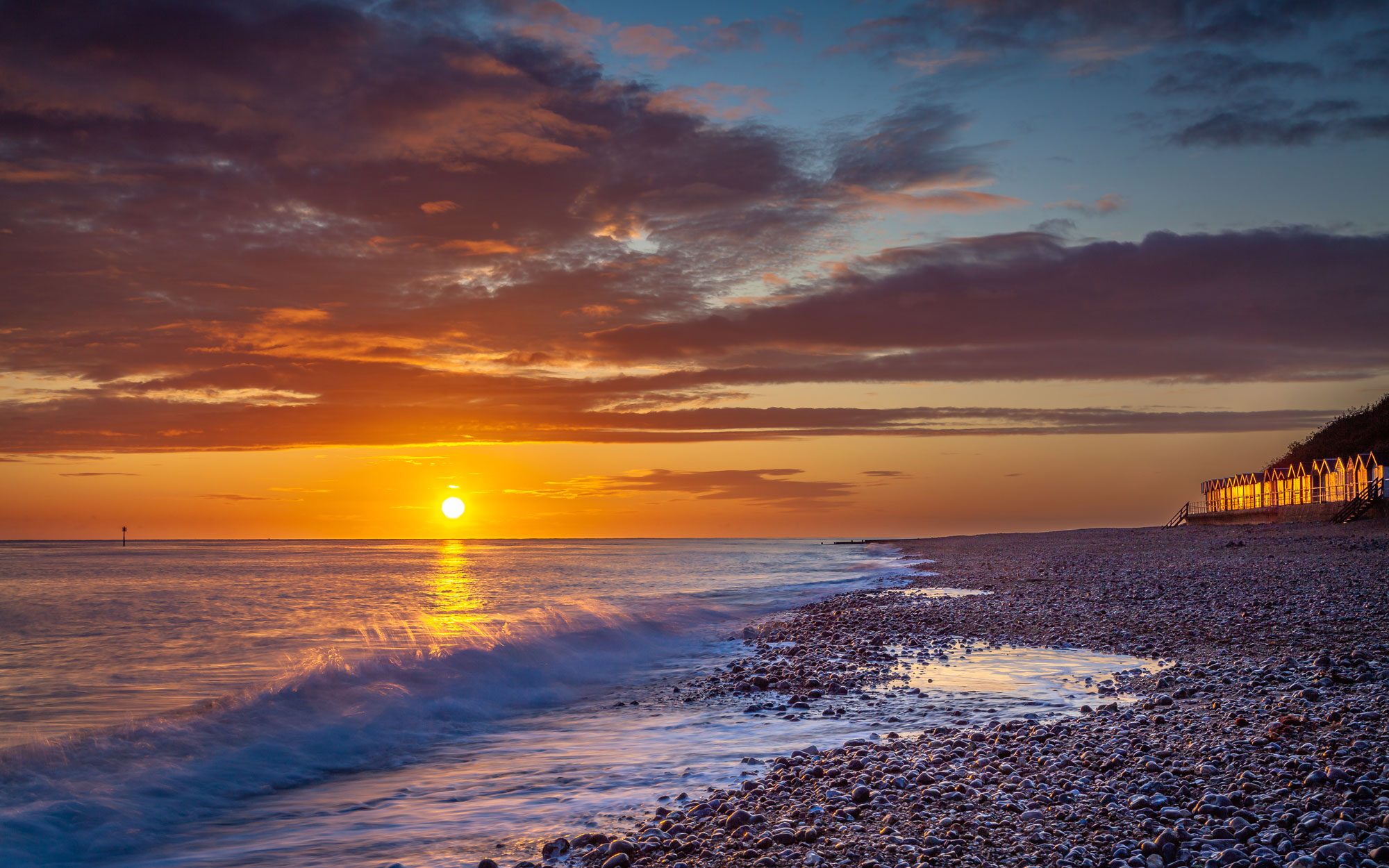Sunrise against the sea at Cromer Beach, Norfolk, UK n