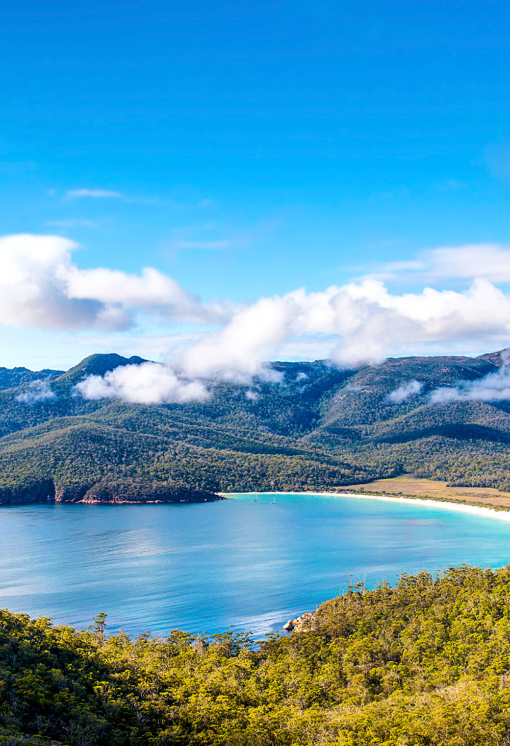 View of the water in Wineglass Bay, Tasmania.