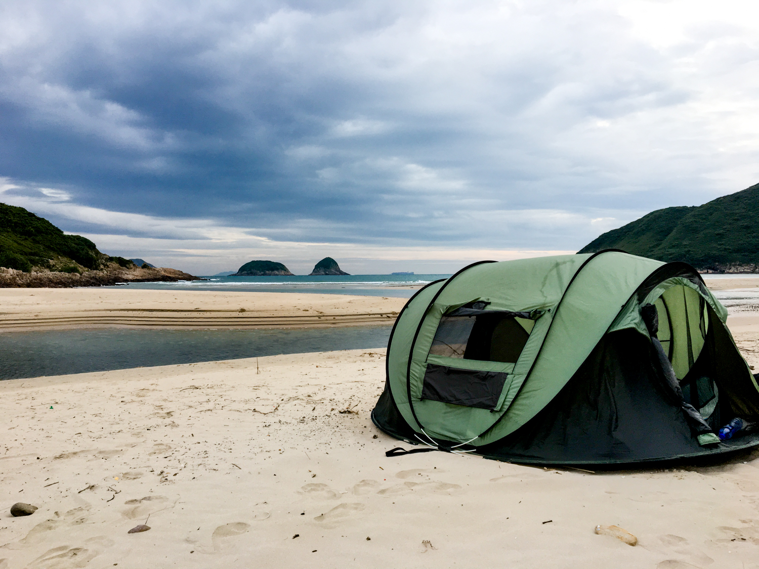 Photo of a camping tent on the beach