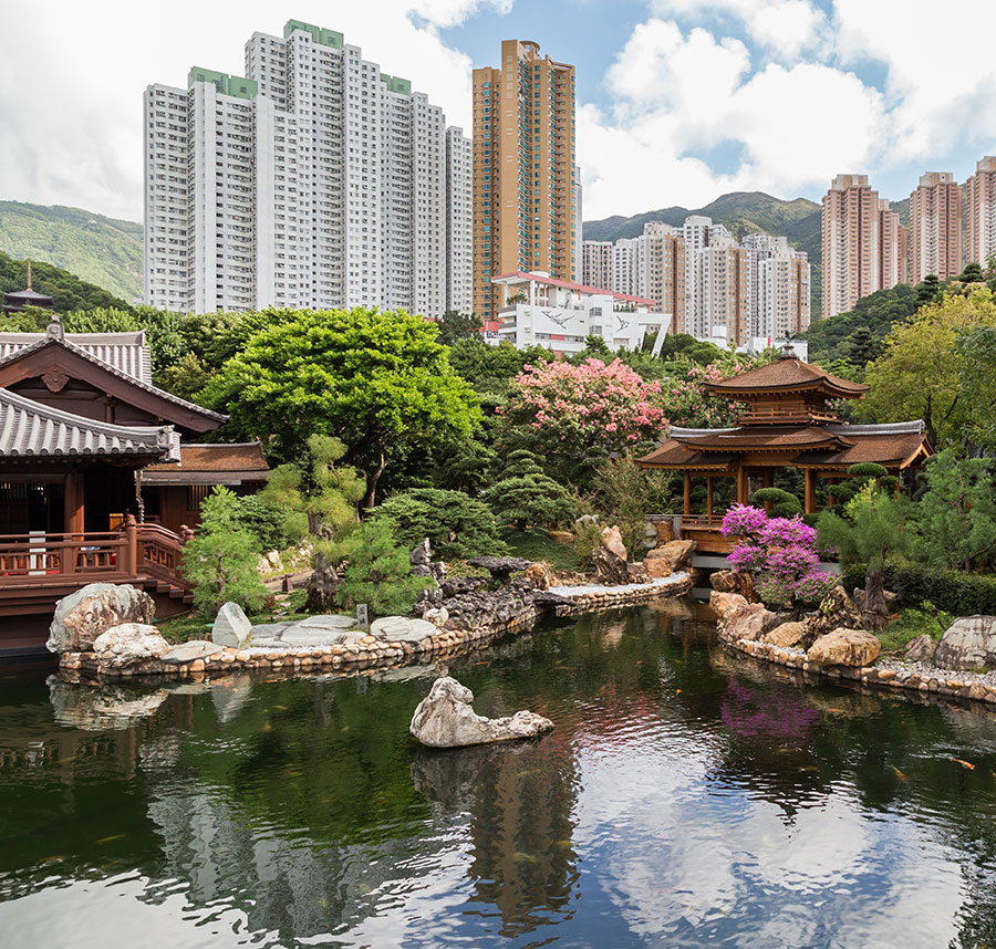 Pond and Bridge at Nan Lian Garden, Hong Kong