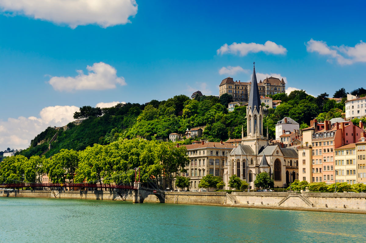 Image of Church of Saint Georges and Saone river in Lyon, France