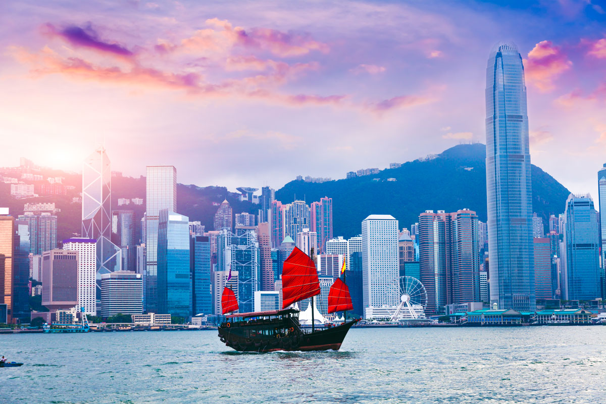 Photo of boat and hong kong skyline