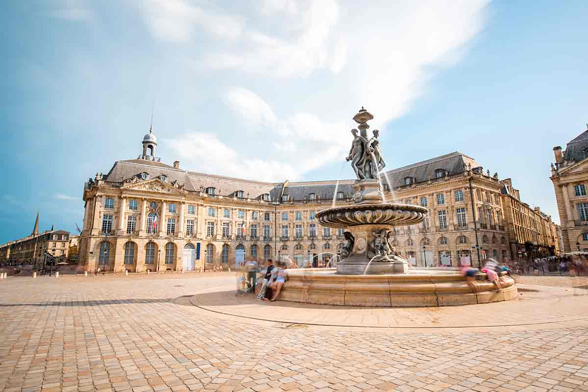 Plaza and fountain in Bordeaux, France