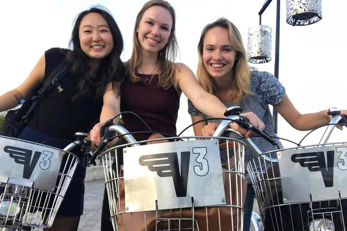 Tracie and two friends on bikes