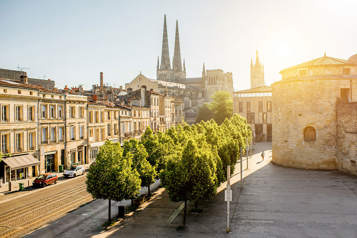 View of Bordeaux street, trees and cathedral