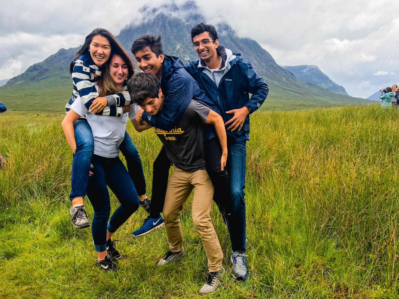 Students horsing around in Scotland
