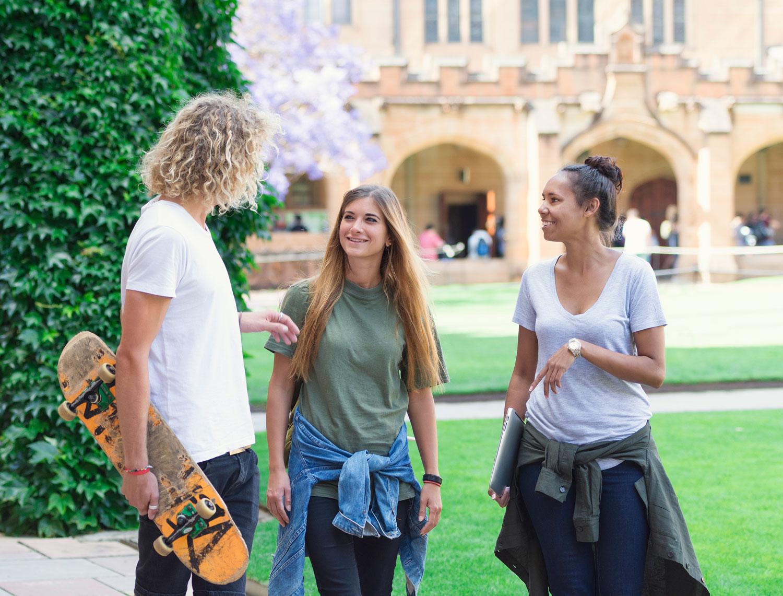 Australian students walking on campus at University of Sydney