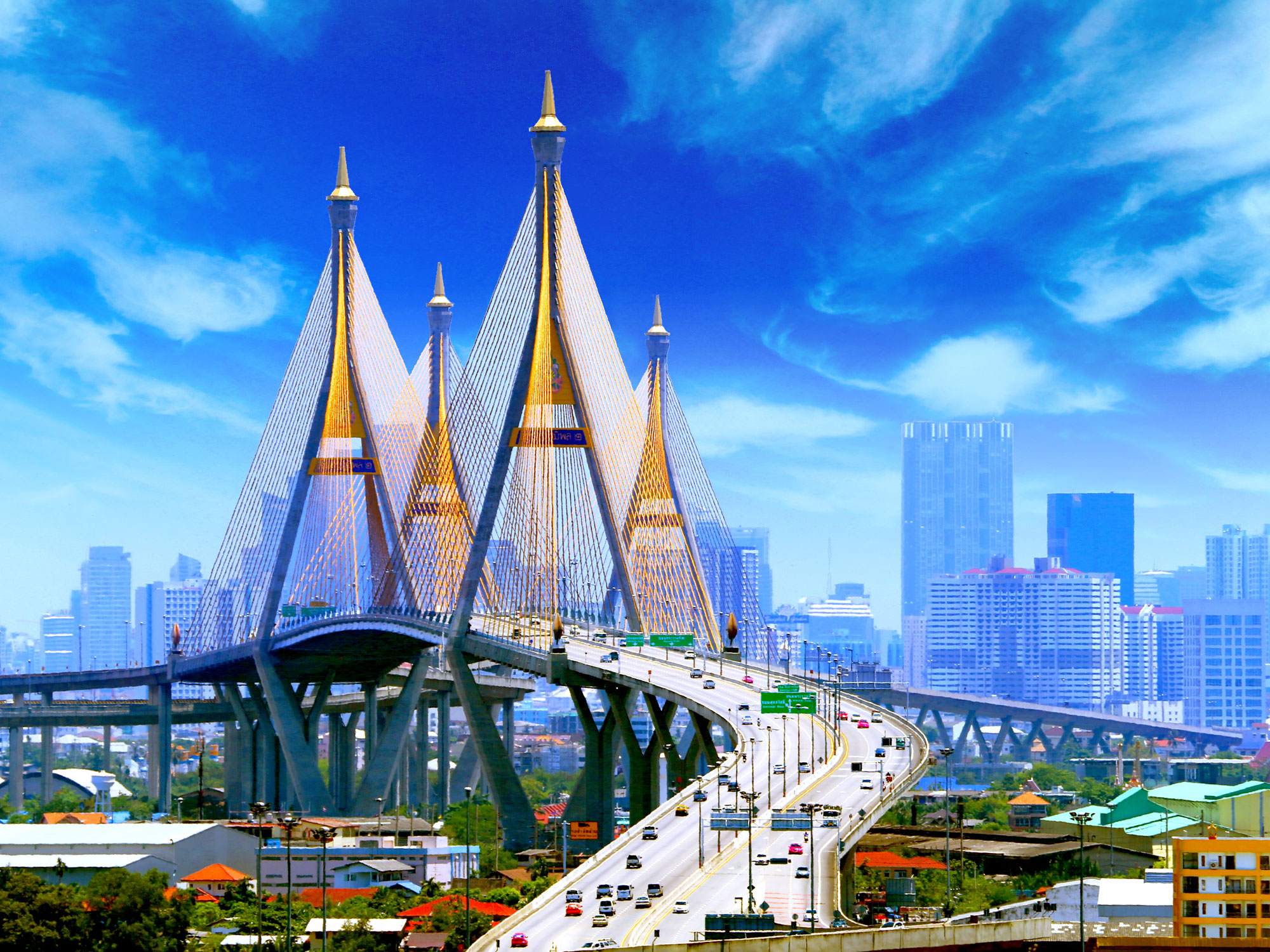Bhumibol Bridge in Bangkok, Thailand