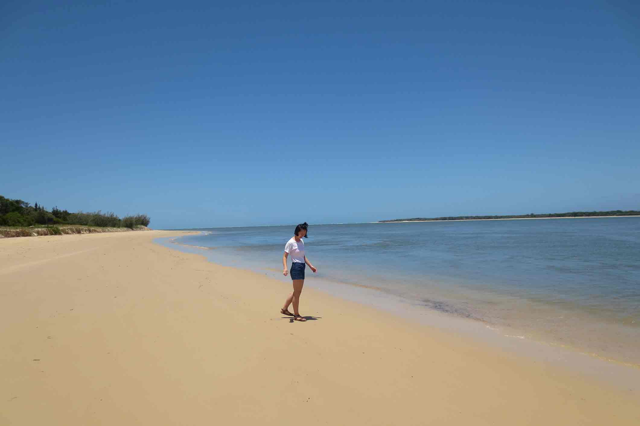 Waresa walking on the beach in Melbourne. Australia