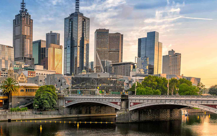 Central business district in Melbourne, Australia