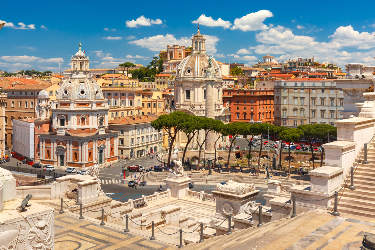 Ancient Trajan Forum in Rome, Italy