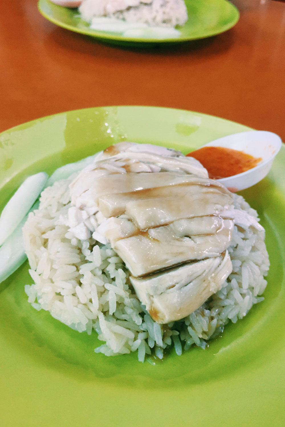 Chicken and rice on a green plate