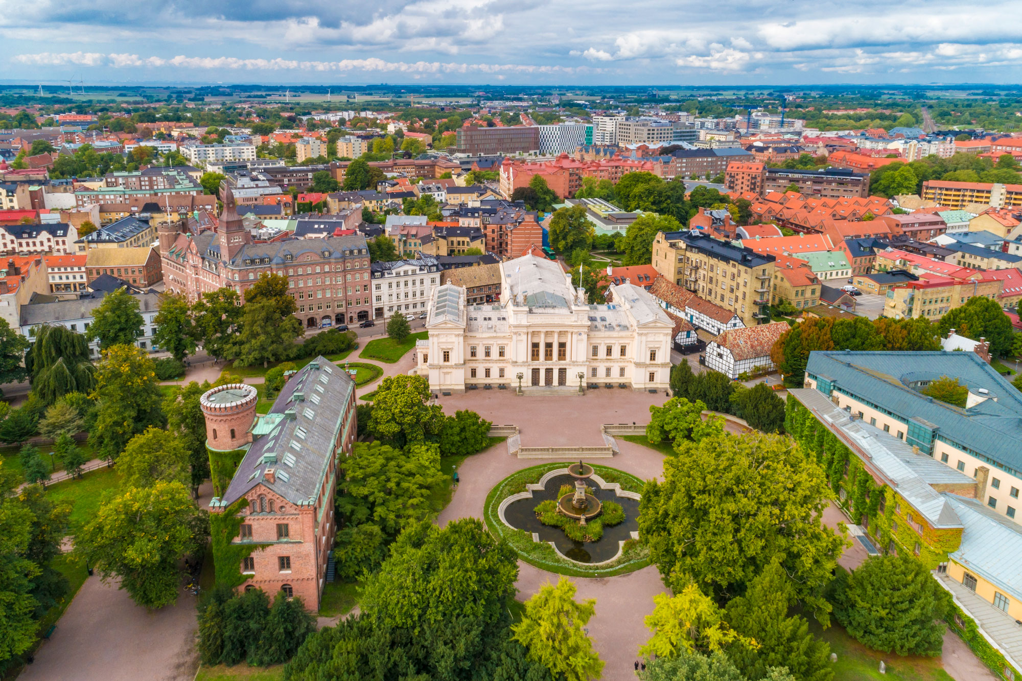 erial view of Lund University and surrounding old town buildings, Lund, Sweden.