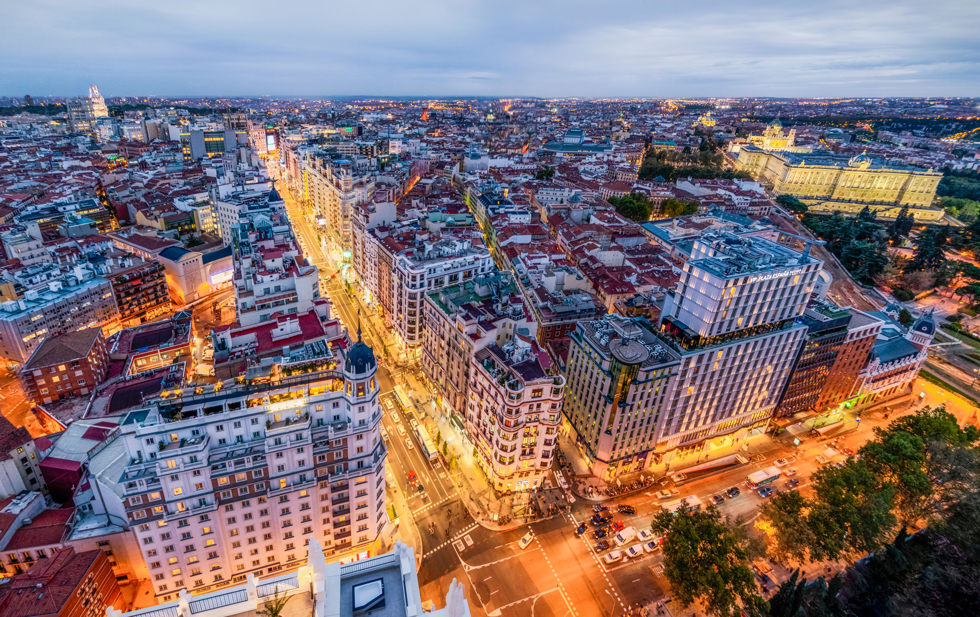 Panoramic aerial view of downtown Madrid at sunset