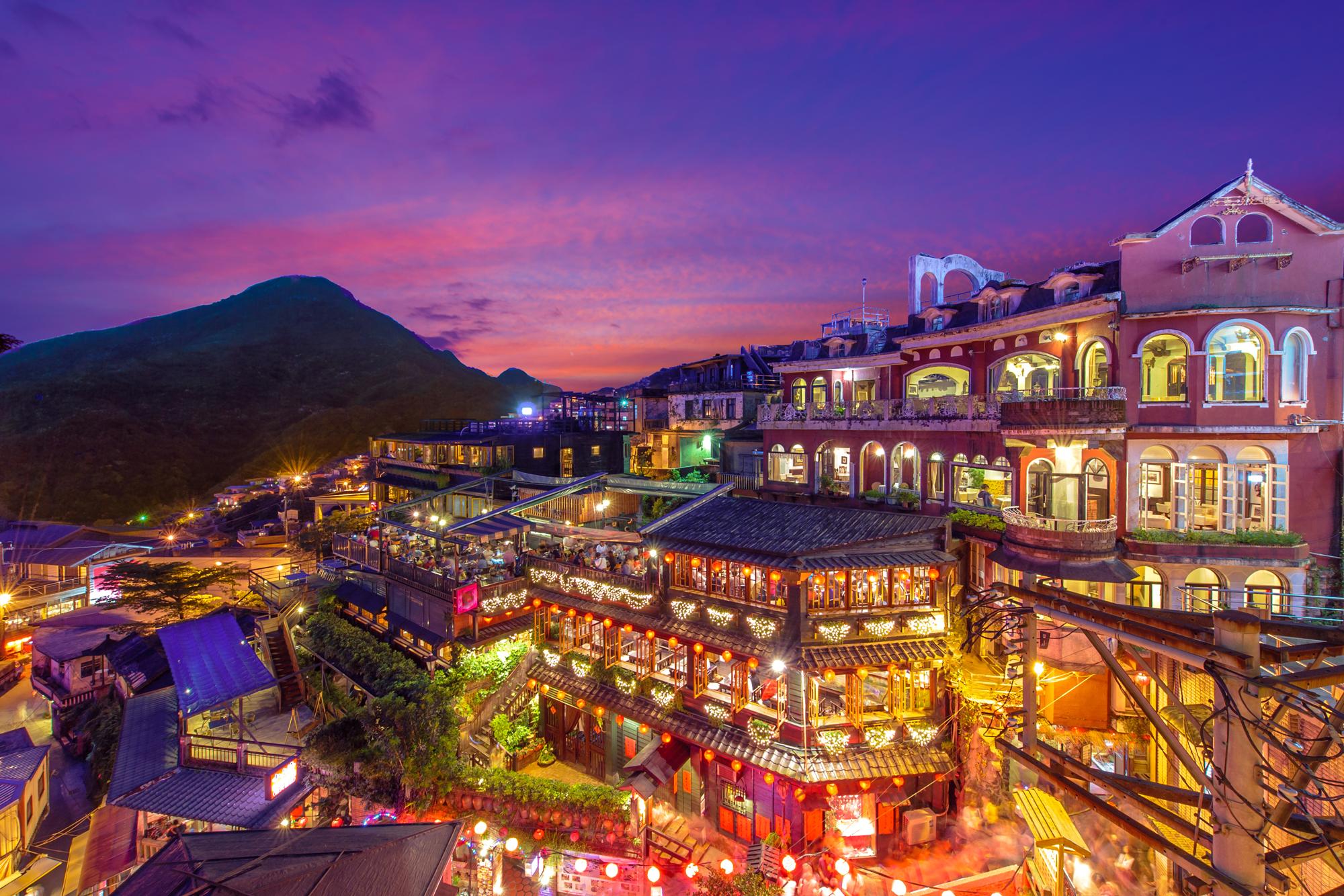 night scene of Jioufen village, Taipei, Taiwan