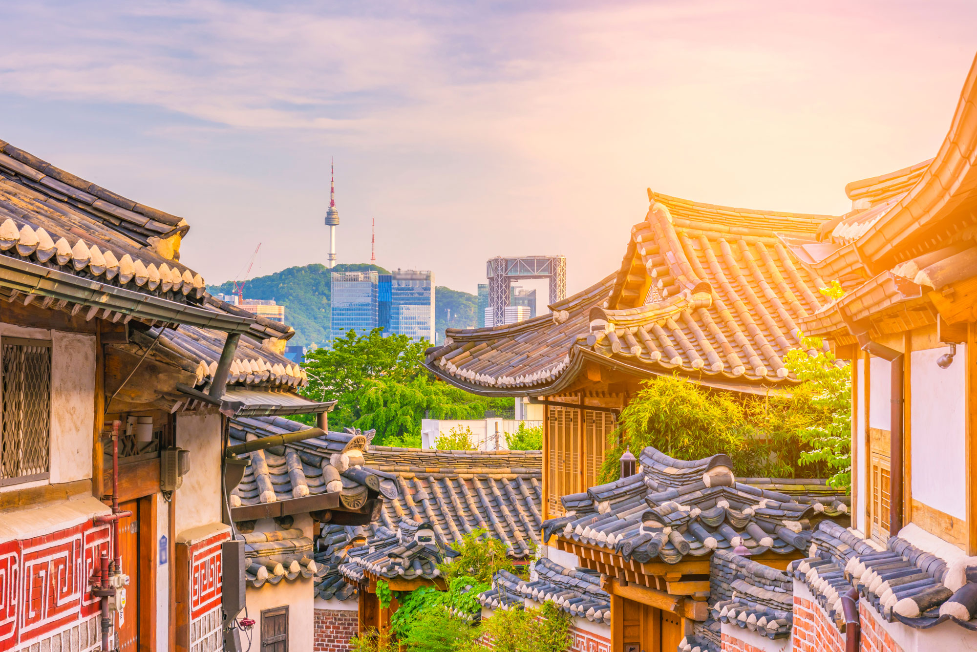 view of traditional and city buildings Seoul, Korea