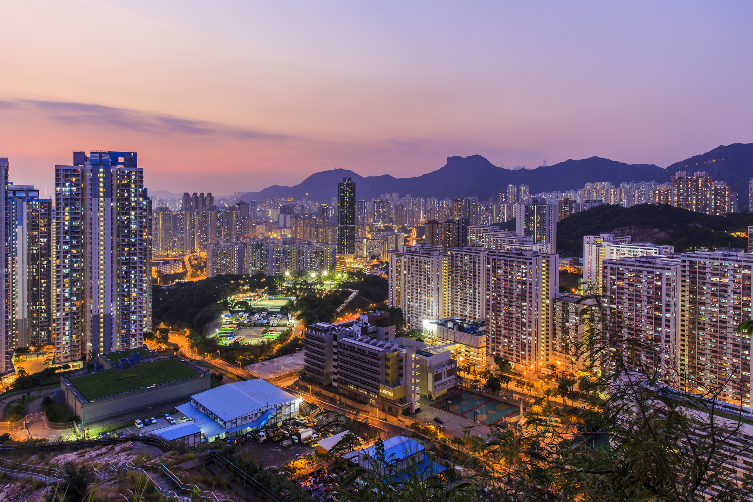 Sunset over Lion Rock in Hong Kong.