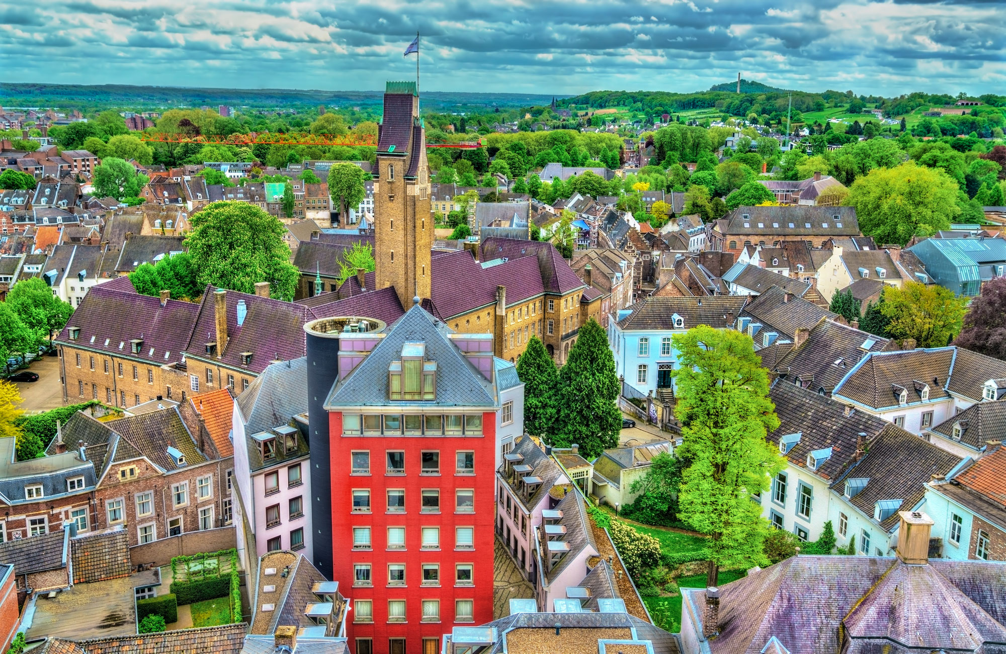 Aerial view of the old town of Maastricht, the Netherlands