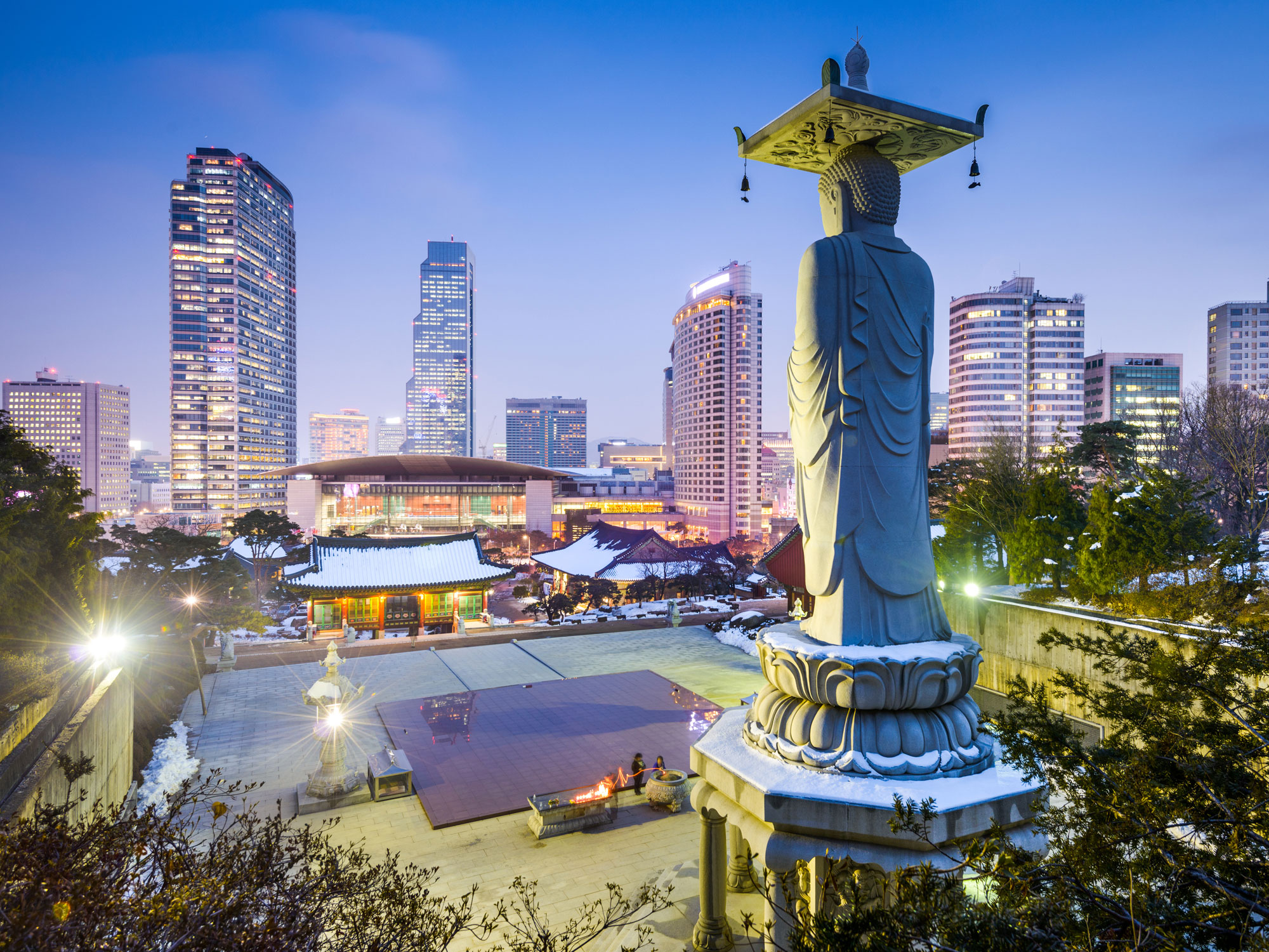 Night cityscape view of Gangnam Seoul, South Korea
