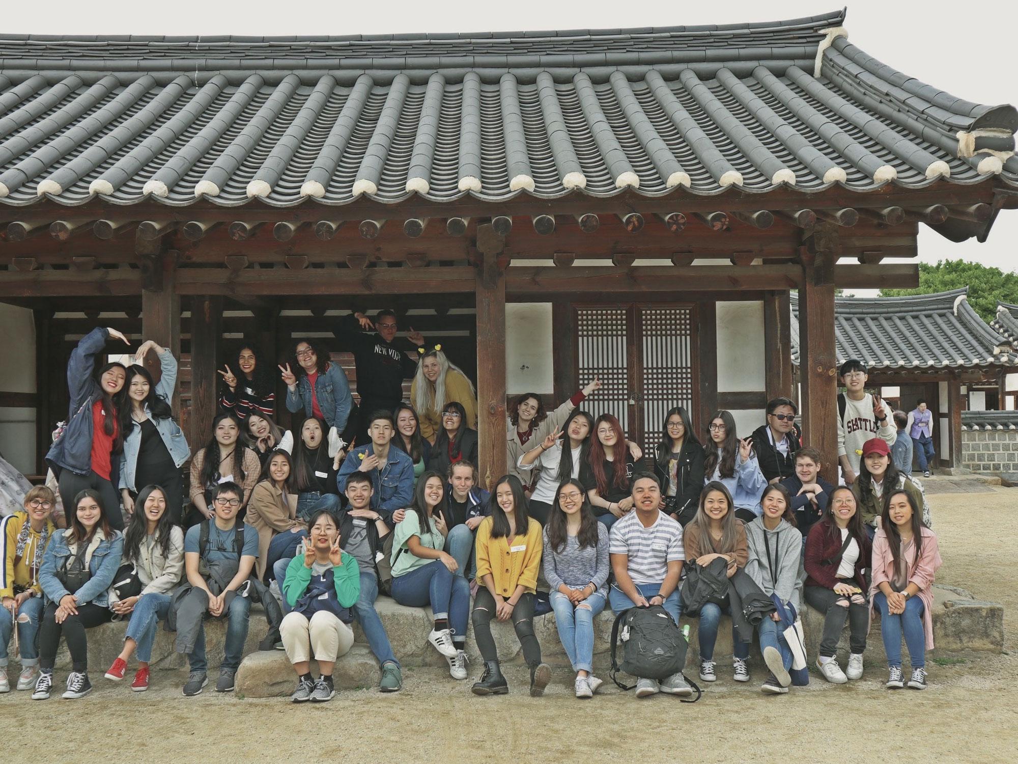 A group photo of students at Hanok Village, Jeonju