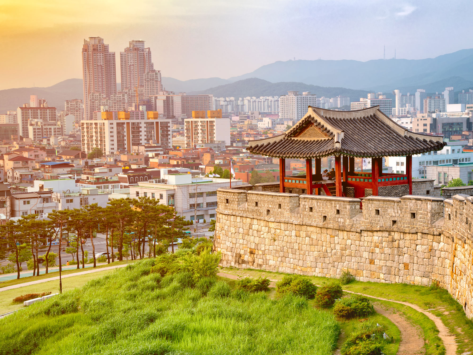 Sunset of Hwaseong fortress is a Joseon Dynasty that surrounds the centre of Suwon City,South Korea