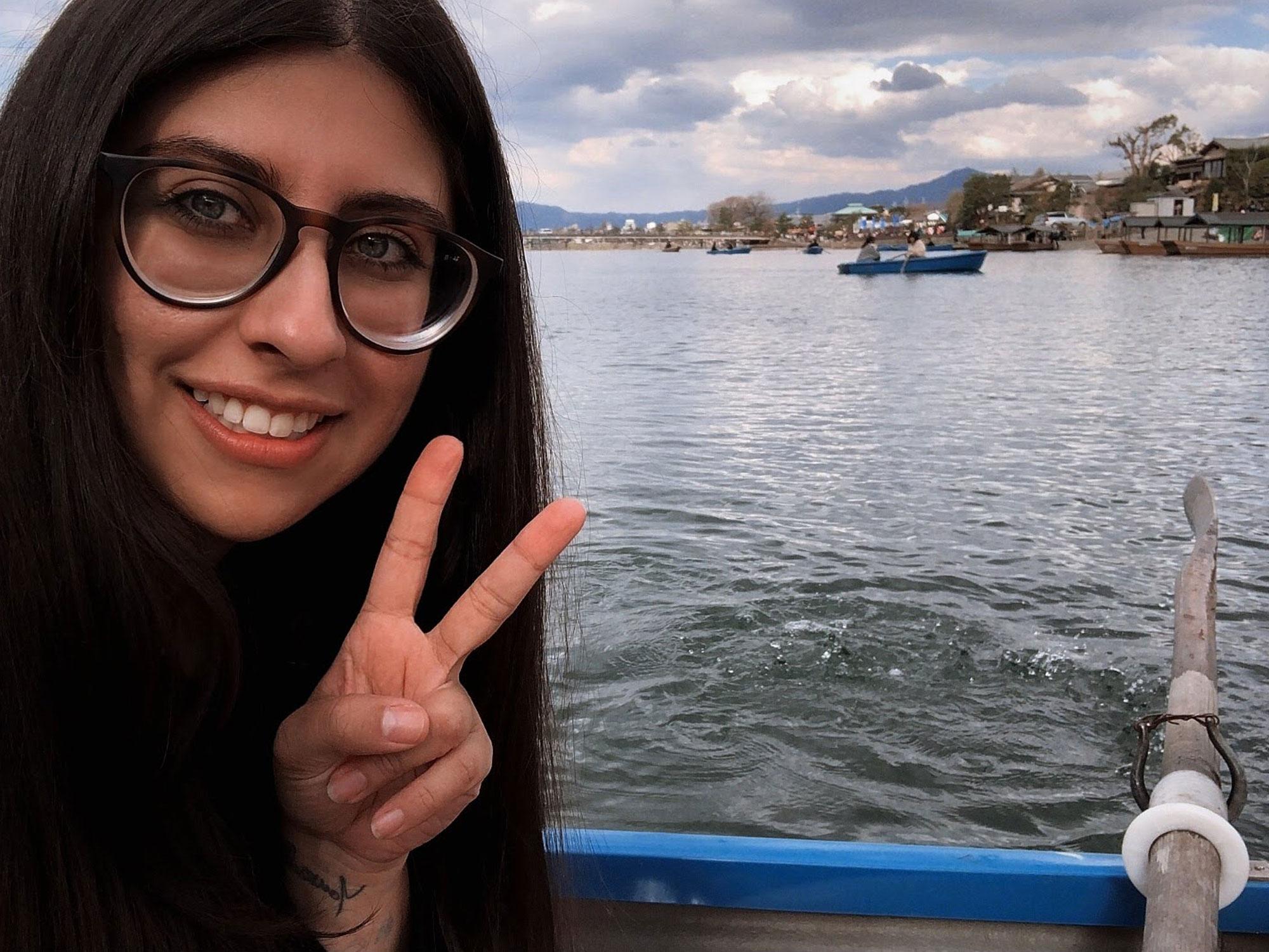 Gabriela near the water at Arashiyama.