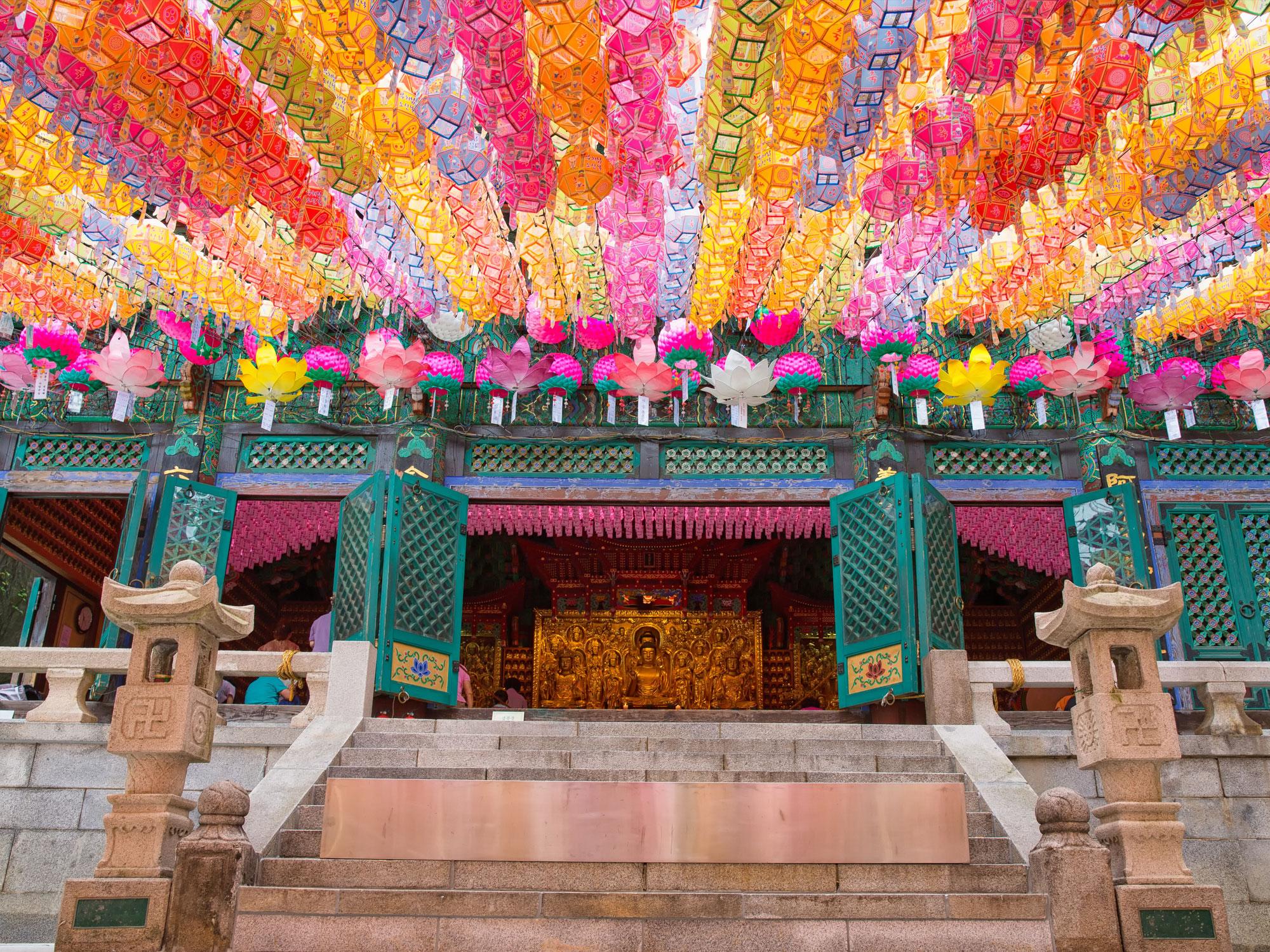 Bright colorful lotus lanters at Dosunsa Bukhansan, Seoul Korea