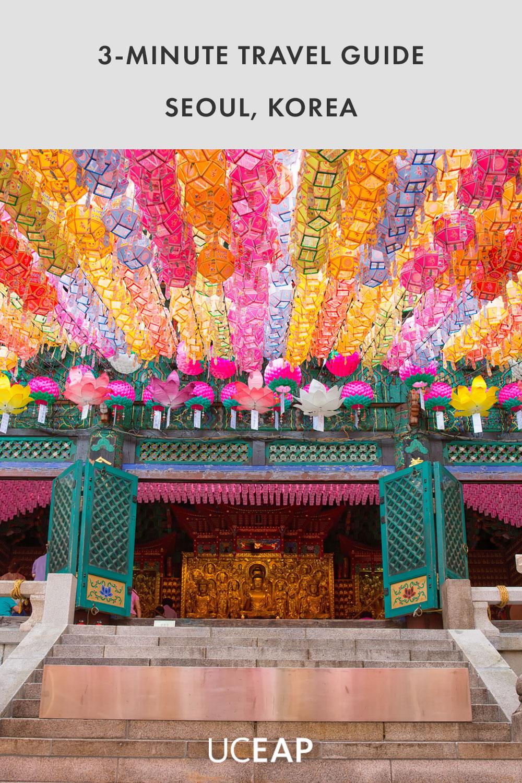 Bright, colorful lotus lanterns at Dosunsa temple in Bukhansan, Korea