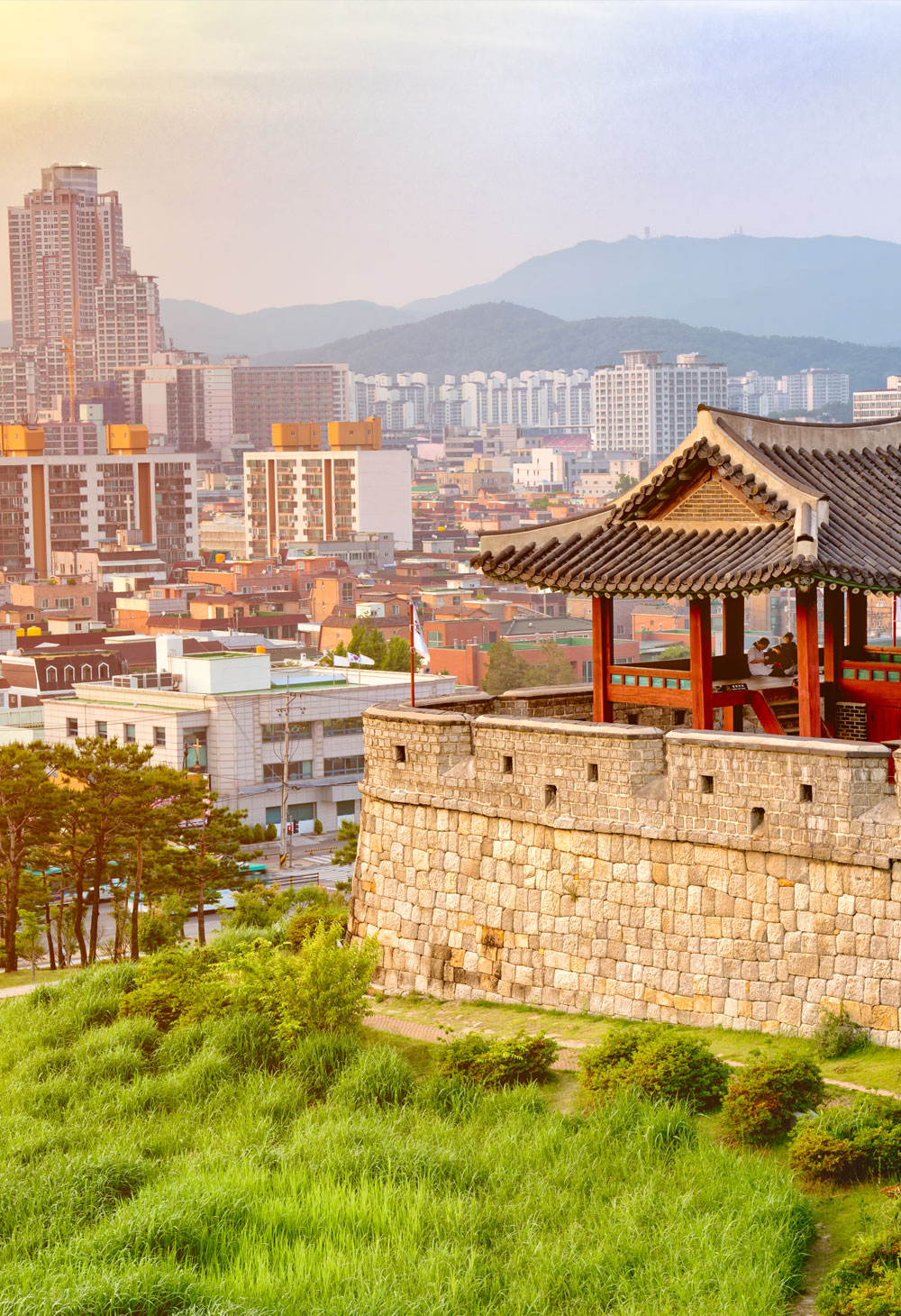 Sunset at the Hwaseong Fortress, a Joseon Dynasty fortification surrounding the center of Suwon, Korea