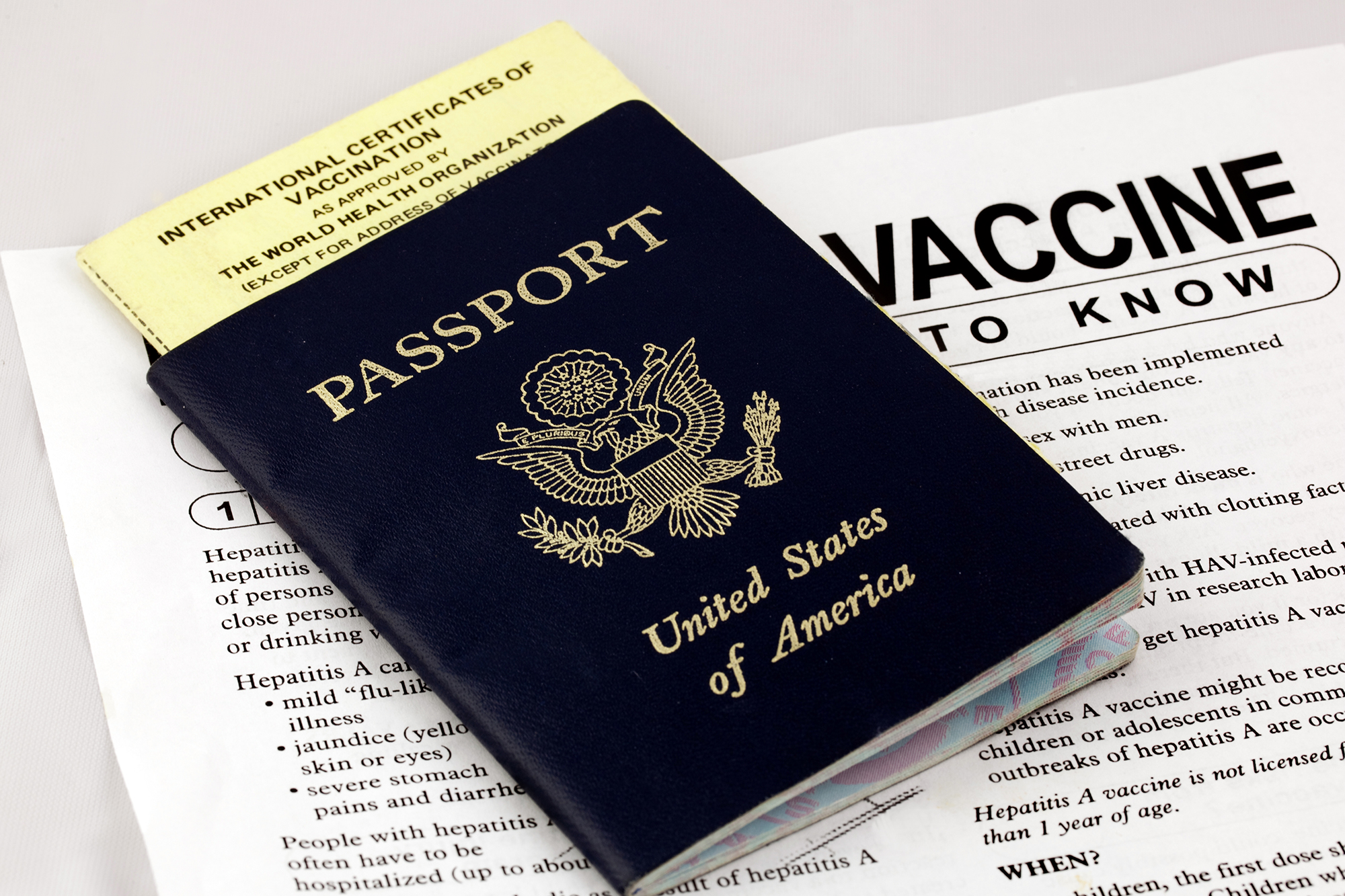 Travel vaccine paperwork for health clearence and passport