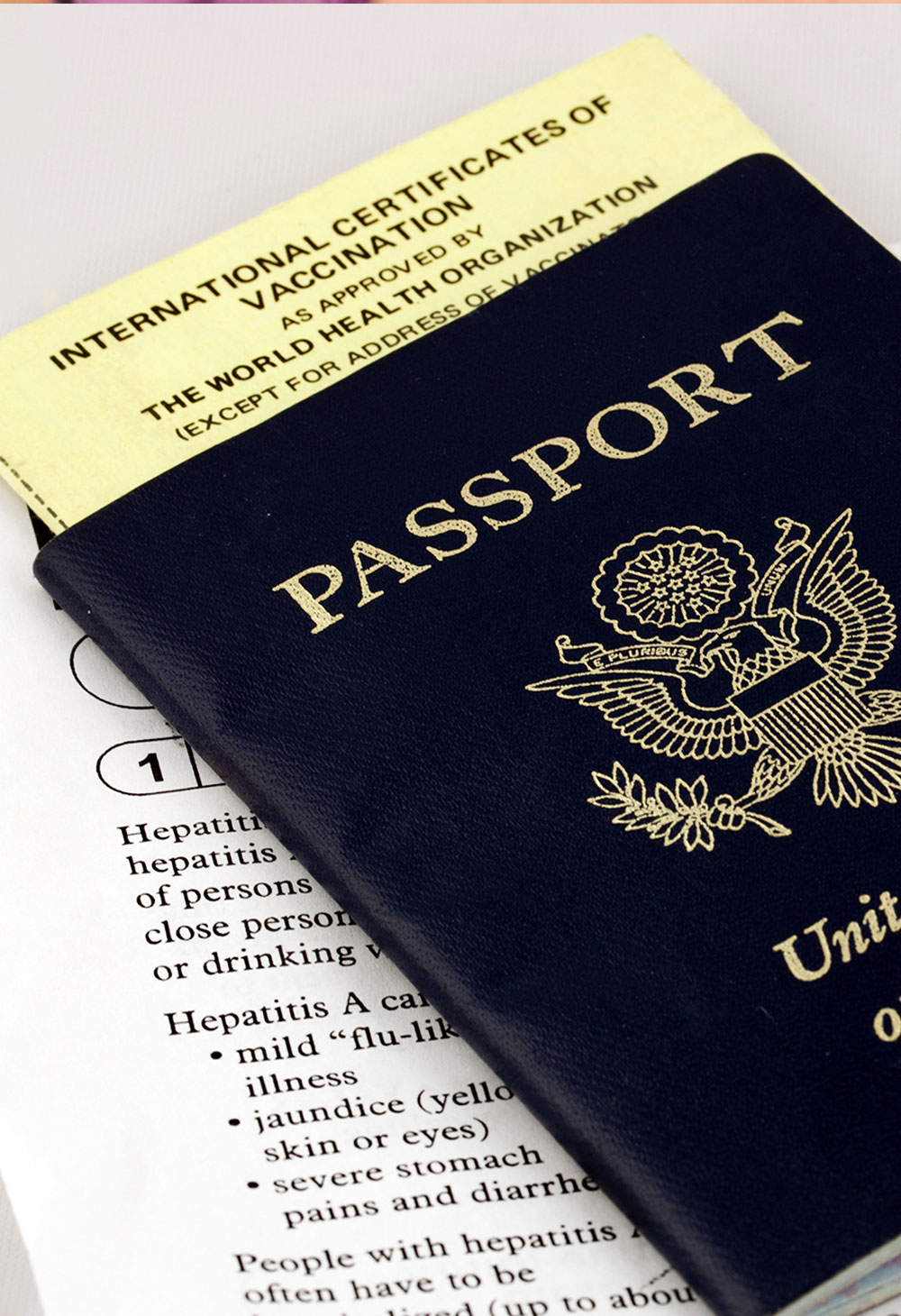 Travel vaccine paperwork for health clearance and passport