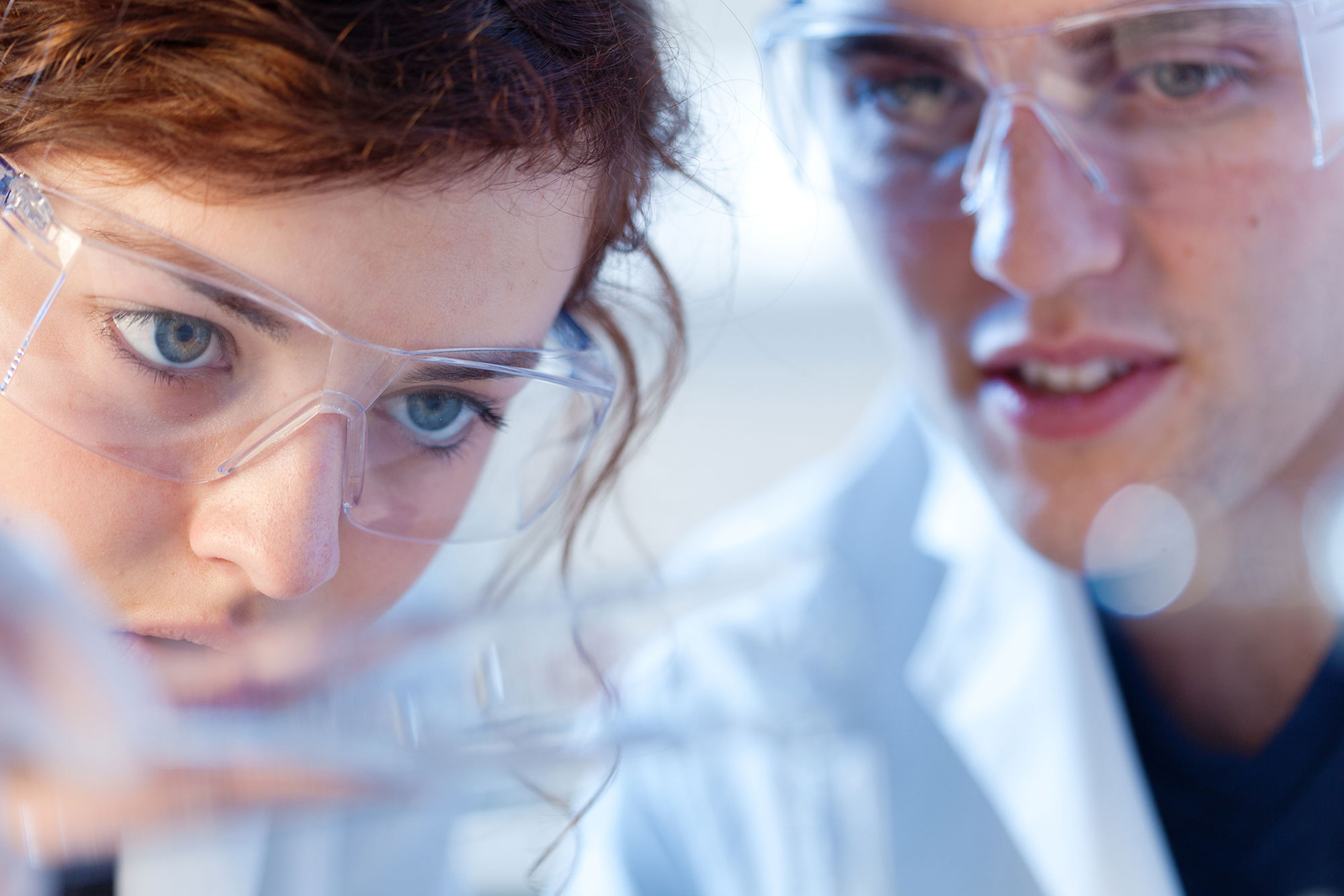 Two scientists observe a test tube in a lab.