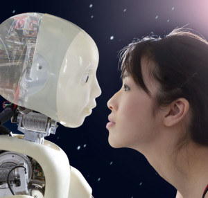 Woman and robot face to face.