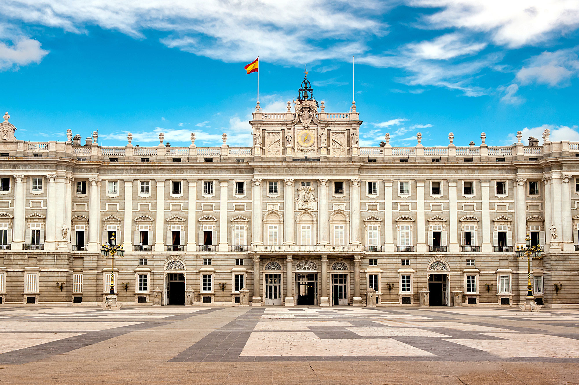 Front view of Palacio Real de Madrid (Royal Palace of Madrid), Spain - main gate.