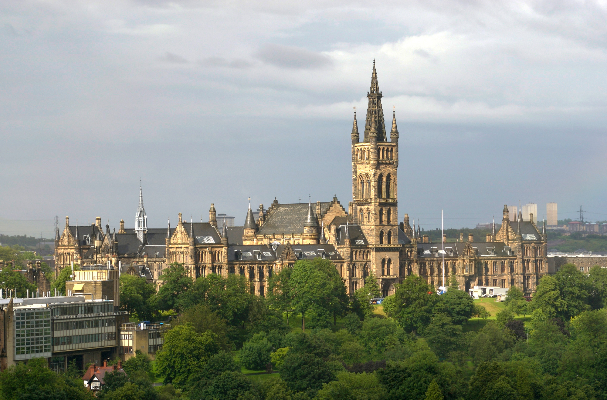 Glasgow University buildings, taken from Yorkhill Children's hospital.