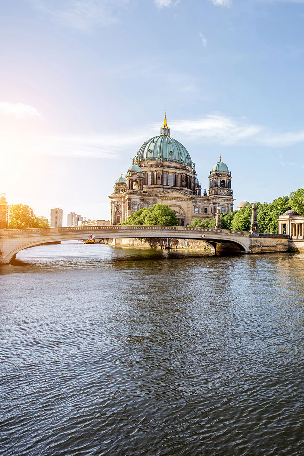 View of Berlin Cathedral near the water in Berlin Germany