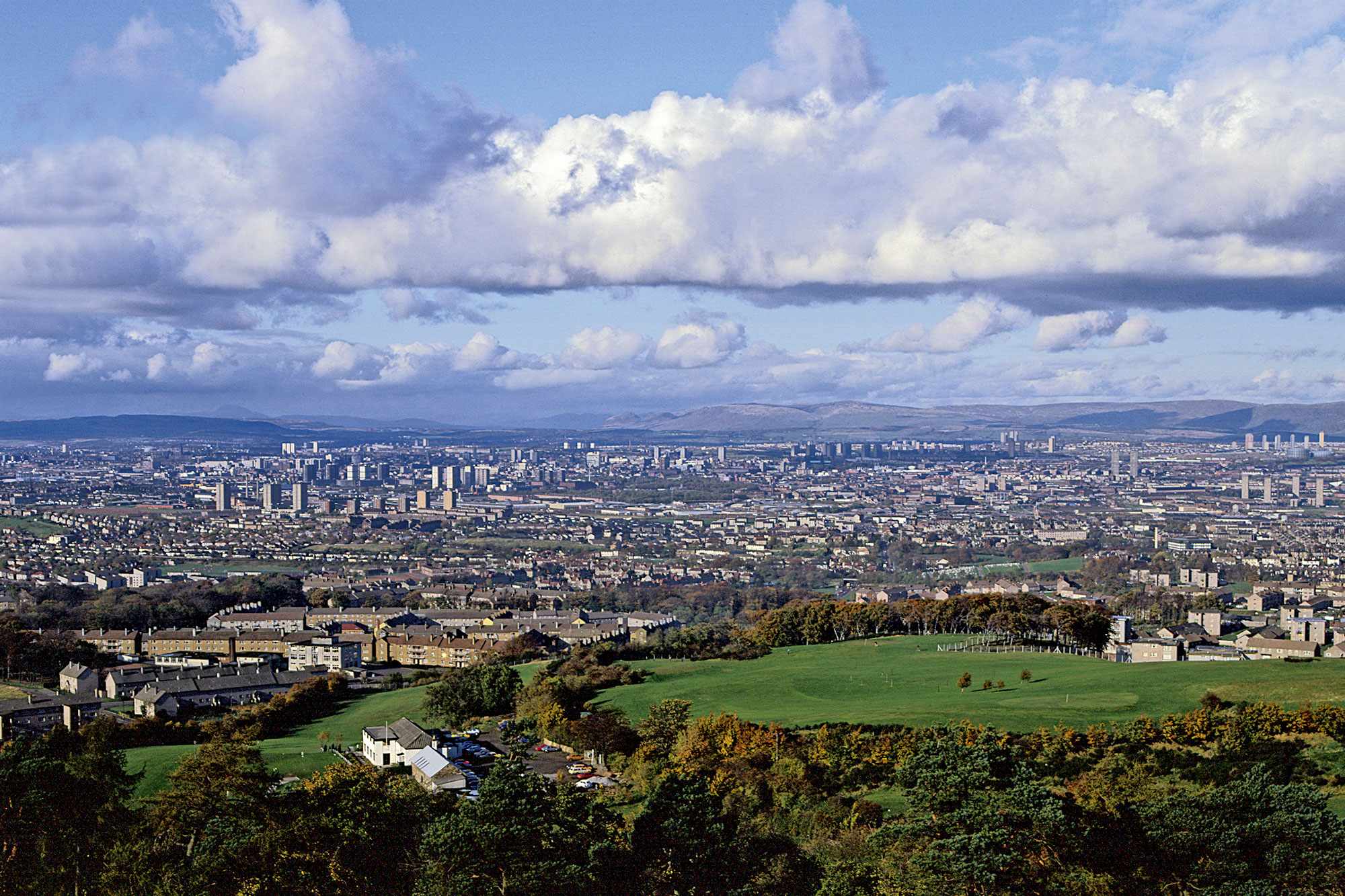Cityscape of the Glasgow from the heights of Cathkin Braes to the South.
