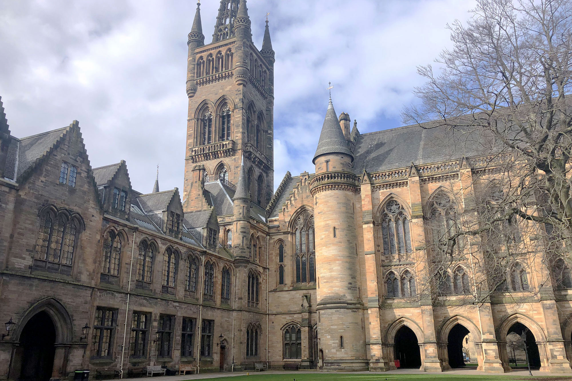 Exterior view of the main building at the University of Glasgow