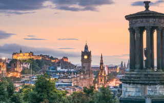 View of Edinburgh skyline from Calton Hill in Scotland