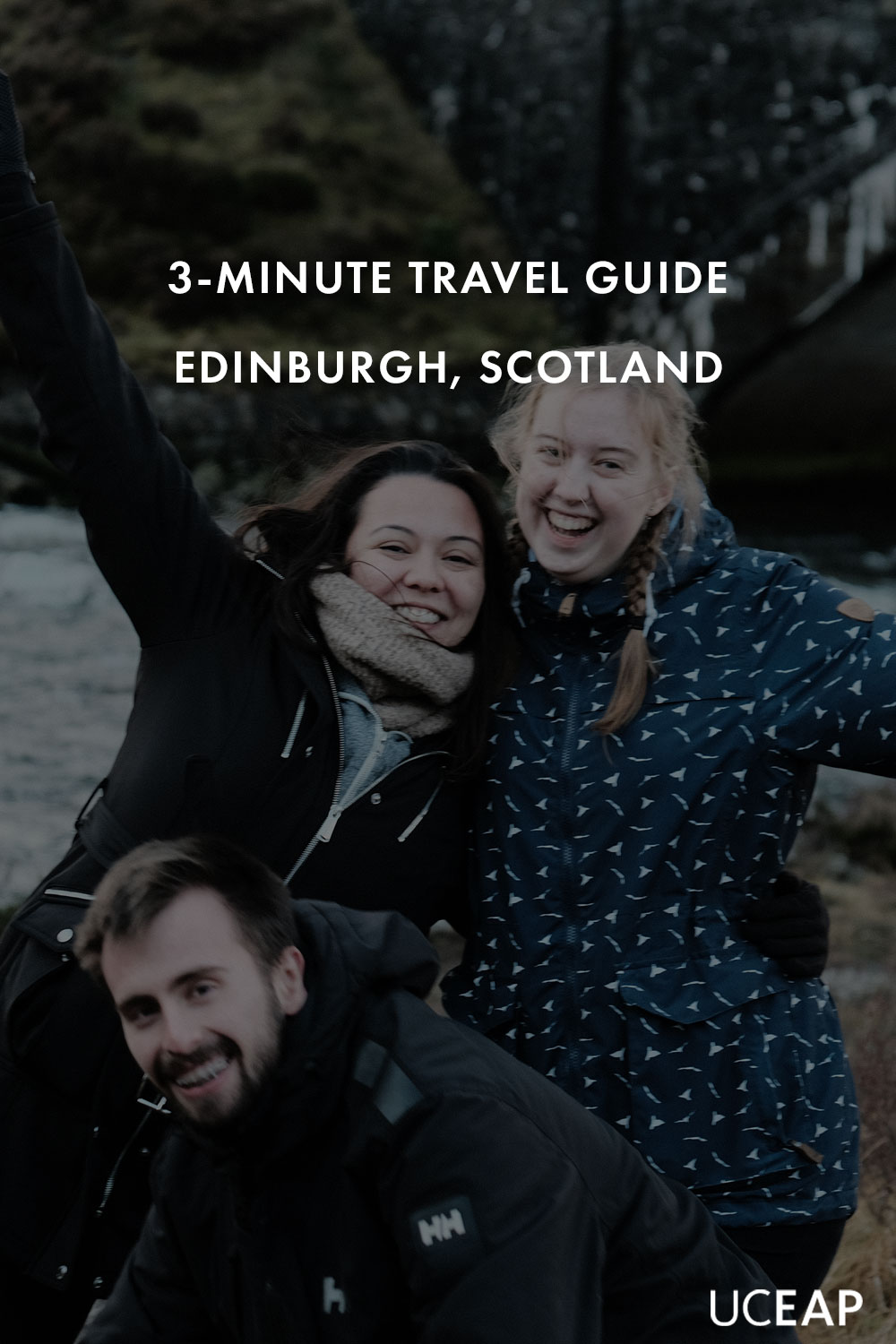3 students smiling for a photo in Fort William, Scotland.
