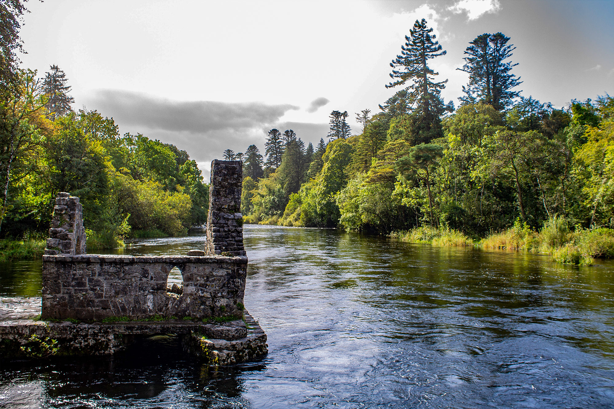 River and old ruins in Killarney National Park in the south west of Ireland.