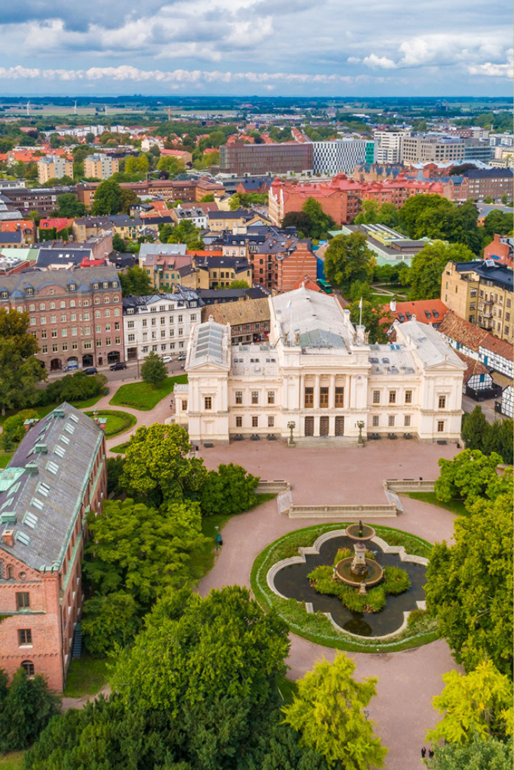 Aerial view of Lund University and surrounding old town buildings, Lund, Sweden.