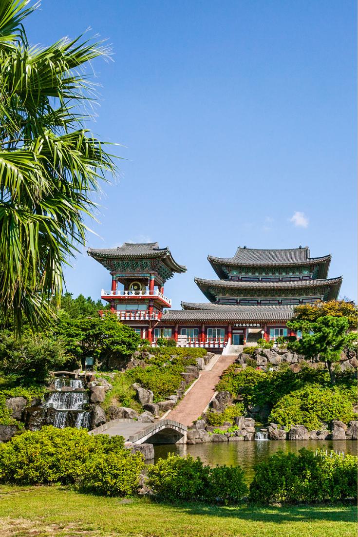 colorful Yakcheonsa Temple on Jeju Island, Korea.