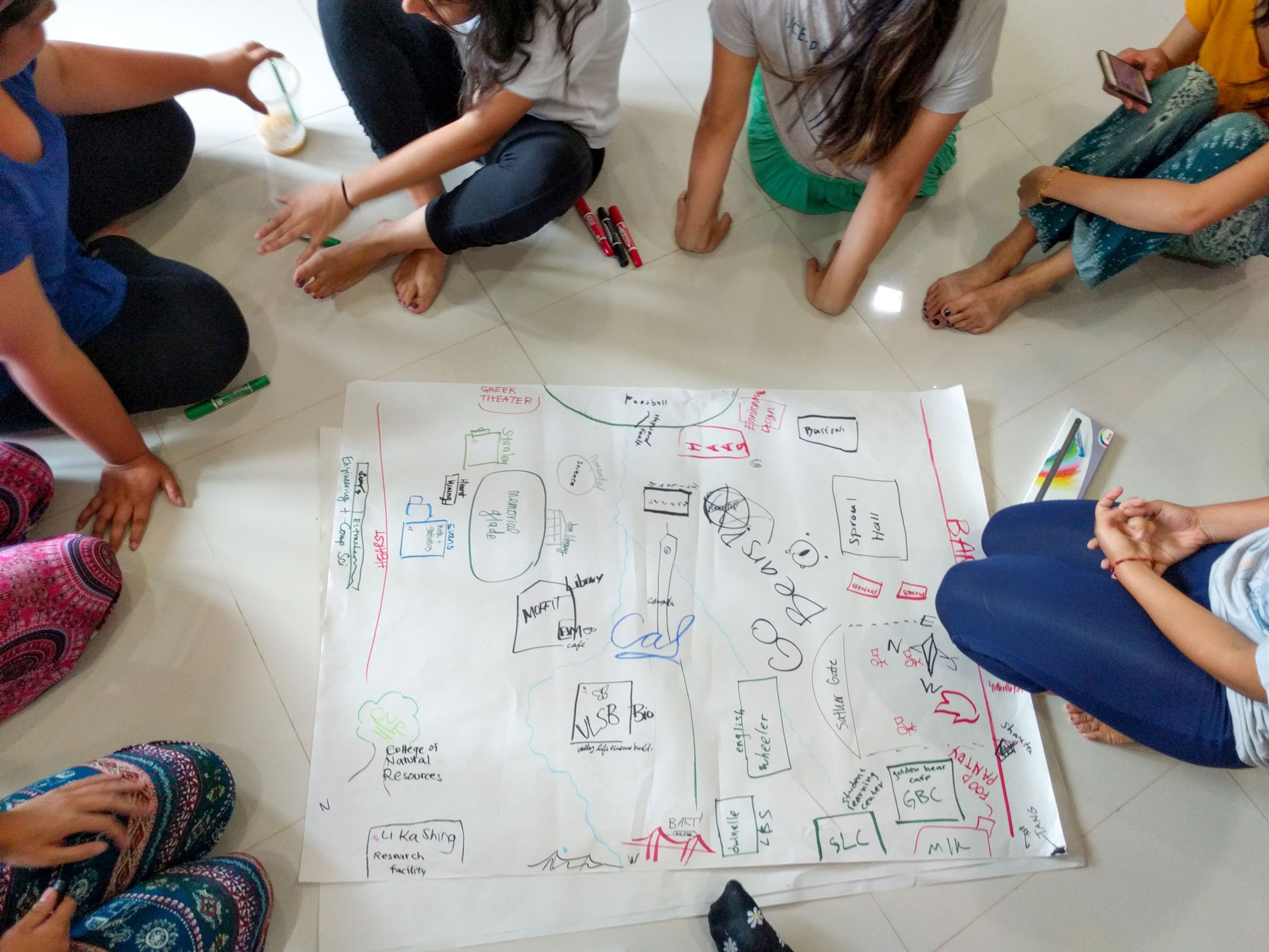 Students draw a map of a university campus on the floor.
