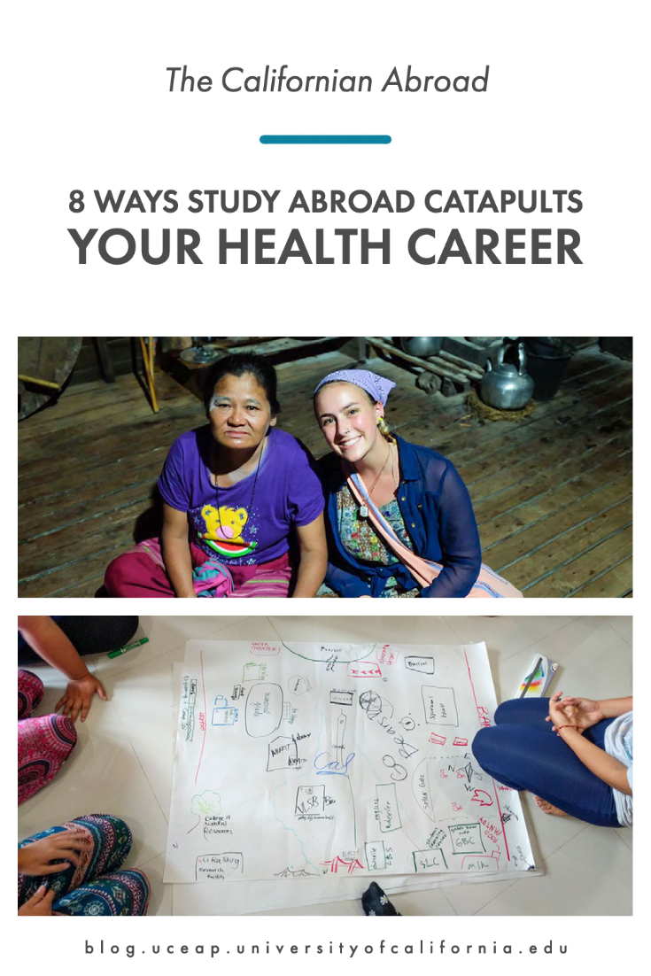Title reads 8 ways study abroad catapults your health career with two photos. Photo one shows two smiling people looking at camera seated on wooden floor and photo two shows a group of people sitting in a circle on floor working on planning diagram.