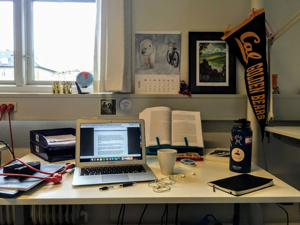Sierra's desk with a computer, papers, and decorations near a window in Copenhagen Denmark.
